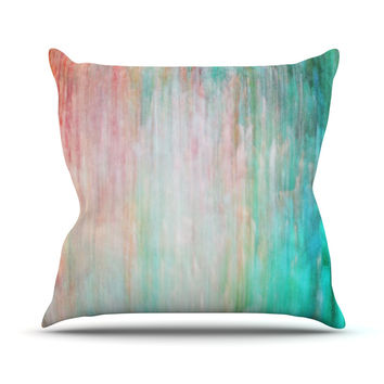 "Iris Lehnhardt ""Color Wash Teal"" Blue Turquoise Throw Pillow"