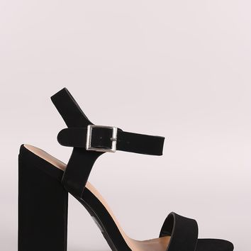 Bamboo Nubuck Open Toe Ankle Strap Chunky Heel