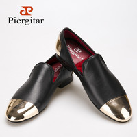 Piergitar 2016 new style Handmade Black Genuine Leather men shoes with front and back gold metal Fashion men slip-on loafers