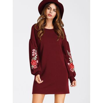 Embroidered Appliques Balloon Sleeve Dress
