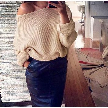 Winter New Women's Fashion Sexy Off-Shoulder Solid Color Long Sleeve Sweater 4#