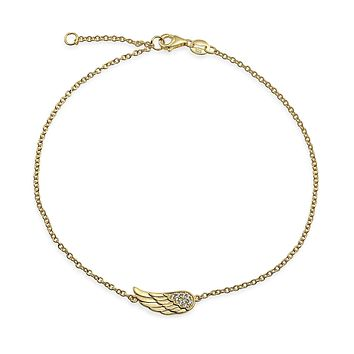 Angel Wing Anklet Charm CZ Bracelet Rose Gold Plated Sterling Silver