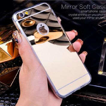 Rose Gold Luxury Bling Mirror Case For iPhone 6 6S Plus 5.5 / 5 5S SE /4 4S 7 Clear TPU Ultra Slim Flexible Soft Cover