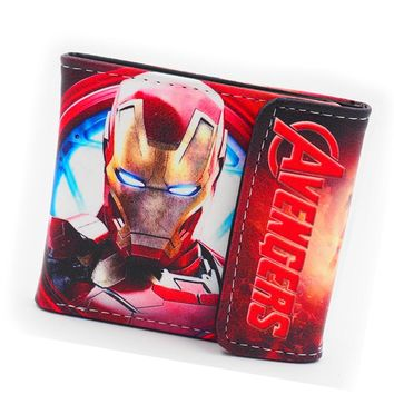 2018 Avengers Iron Man Wallet Marvel The hulk Purses Leather Anime Wallet Bag Credit ID Card Holder Women Wallet For Boys Girls