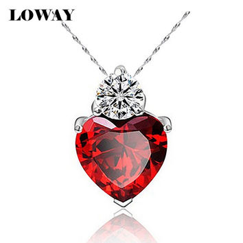 LOWAY 6 Colors Zircon Heart Charming Pendant Necklace for Women Love Gold Plated Jewelry Accessories Girlfriend Gift XL1874