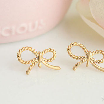 Pretty Ribbon Earrings, Matte Silver or Matte Gold