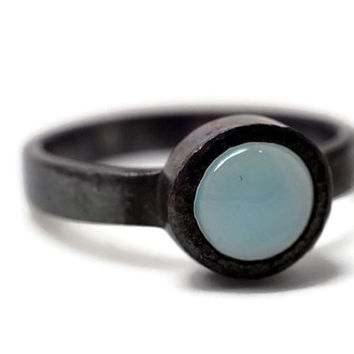 Pale Blue Chalcedony Ring, Oxidized Ring, Blackened Silver Ring, 8mm Gemstone Ring