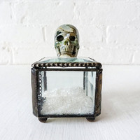 Beveled Glass Jewelry Box with Spotted Ocean Jasper Crystal Carved Skull