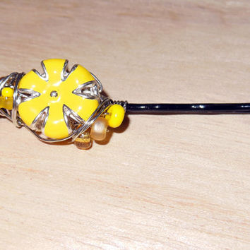 Embellished Bobby Pin Wire Wrap Sunburst Bead Hair Accessory Perfect for Summer!