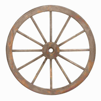 Benzara Wooden Metal Wagon Wheel with Long Lasting Construction