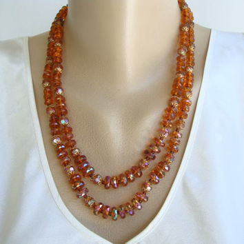 West Germany 2-Strand Topaz AB Bead Necklace Fancy Clasp Vintage Jewelry