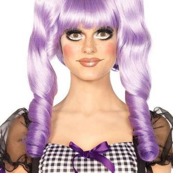 CREYI7E Dolly bob wig with optional ringlet clips in LAVENDER