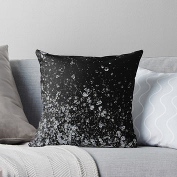 'Black and White Water Splashes' Throw Pillow by PRODUCTPICS