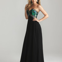 Black Chiffon & Sequin Sweetheart Empire Waist Prom Dress - Unique Vintage - Cocktail, Pinup, Holiday & Prom Dresses.