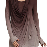 Womens Long Sleeve Brown Ombre Fade Taupe Cowl Neck Knit Tunic Top Shirt Blouse