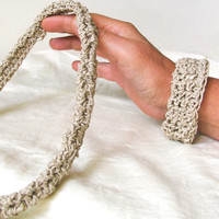 Neutral Oatmeal Beige Fiber Necklace  Crochet Jewelry Minimalist Organic Eco-friendly Fiber Art