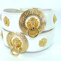 Versace Gold Lion head studded White Belt