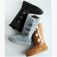 """UGG"" Boots Women Fashion Wool Snow Boots three Button B"