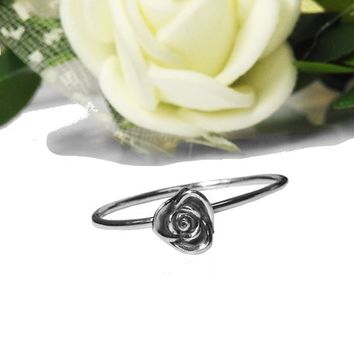 14K Girls Ring Simple White Gold Flower Leaves Ring First ring Birthday Gift Minimalist Ring