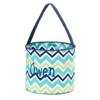 Easter Basket Chevron Tote Bucket  -  Blue Green Personalized Monogrammed