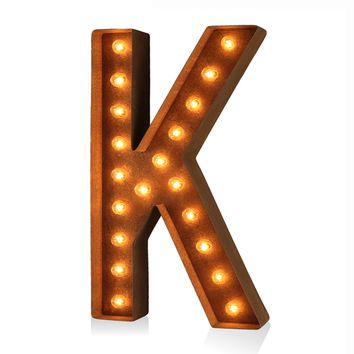"36"" Letter K Lighted Vintage Marquee Letters (Modern Font/Rustic)"