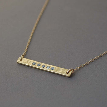 Skinny Gold Sideways Bar Necklace with Cubic Zirconias also in Silver