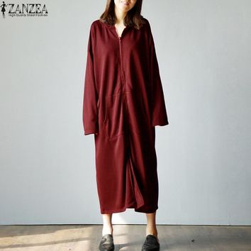 Autumn 2018 ZANZEA Jacket Women Hoodies Casual Sweatshirt Loose Pockets Long Sleeve Hooded Dress Zipper Plus Size S-5XL Vestido