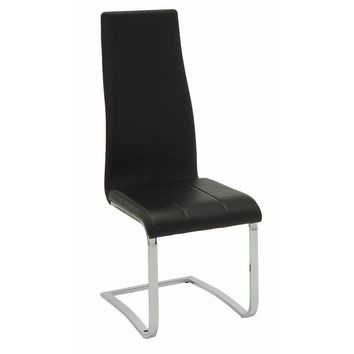Black Faux Leather Dining Chair with Chrome Legs, Set of 4