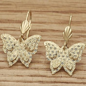 Gold Layered Women Butterfly Dangle Earring, by Folks Jewelry