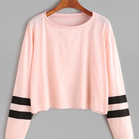 Pink Varsity Striped Sleeve Crop T-shirtFor Women-romwe