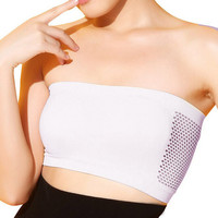 Girls deporte bra Spandex Lycra women Sexy Strapless top Vest hollow Breathable Bandeau female hollow Solid Tube soutien gorge