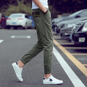 Men Cropped Pants Autumn Cotton Casual Pants Skinny Pants [10833222915]