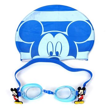 Disney Mickey  kids glassess swimming goggles for children kid+silicone cartoon Elastic Swimming Cap for 3-10year old child