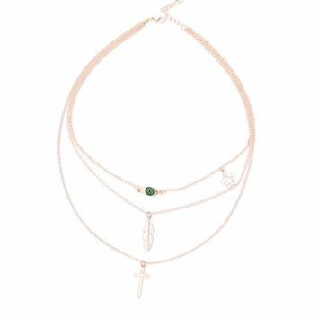 Multilayer Eye Leaf Cross Clavicle short Chain necklace cross leaves star Chain Necklace for Women Jewelry