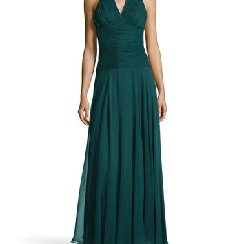 Ruched Crepe Halter Gown,