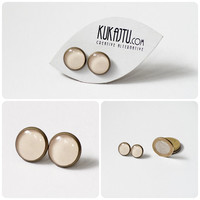 Linen Color stud earrings, Linen Color Jewelry, Spring Color 2013, Nude Color, Linen Color, Gentle, Soft, Delicate, Smooth, Pastel Earrings