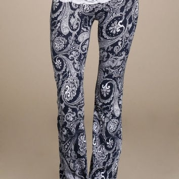 Navy Paisley Lace Waist Yoga Pants