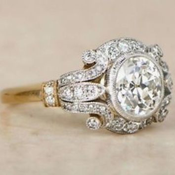 1.60 Ct Antique Art Deco White Round Cut Engagement Ring In 925 Sterling Silver
