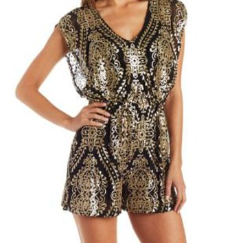 Black Combo Flutter Sleeve Baroque Sequin Romper by Charlotte Russe