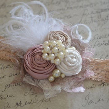 Bridal hair clip. bridesmaid hair accessories. Flowergirl vintage headband. 1920's headband. flapper style, french headbands, J'lexi Jolie
