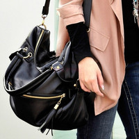 Women Large Synthetic Leather Handbag Tassel Handbag Cross Body Shoulder Bag 18486 (Color: Black)