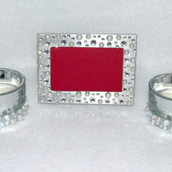 Frame Candle Table Number Silver Metal Picture Frame 2X3 and 2 Tea Light Candle Holders With Rhinestone and Pearl Gatsby Bling Centerpiece