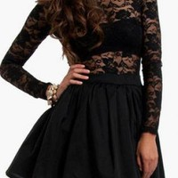 Laced In the Night Skater Dress