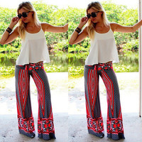 Fashion 2016 Trending Fashion Summer Women Floral Printed Floral Printed Red Trousers Pants _ 7858