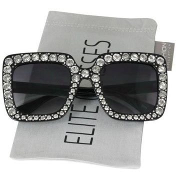 2018 NEW Oversized Square Frame Bling Rhinestone Sunglasses Women Fashion Shades