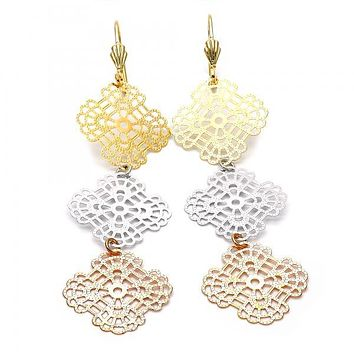 Gold Layered 5.067.005 Long Earring, Flower and Filigree Design, Diamond Cutting Finish, Tri Tone