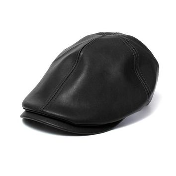 2016 New Summer Men Women Vintage Beret Newsboy Flat Cabbie Causal Driving Hats Artificial Leather Cap sunbonnet#3546