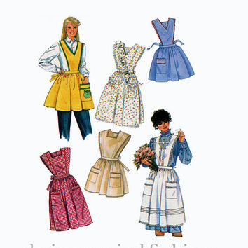 1980s Full Aprons - Bib Cobbler's Gardening Chef's Cook's Pinafore in 2 Lengths Simplicity 7658 Size Large UNCUT Vintage Sewing Patterns