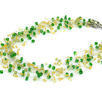 Yellow Green Necklace. Bridesmaid Necklace. Wedding Necklace. Beadwork.  Multistrand Necklace.
