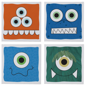 Crazy Critters Wall Canvases - Set of 4